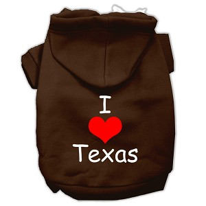 I Love Texas Screen Print Pet Hoodies Brown Size Med (12)