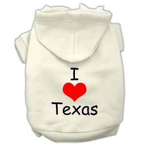 I Love Texas Screen Print Pet Hoodies Cream Size XXXL (20)