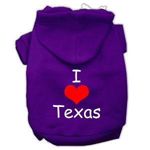 I Love Texas Screen Print Pet Hoodies Purple Size XL (16)