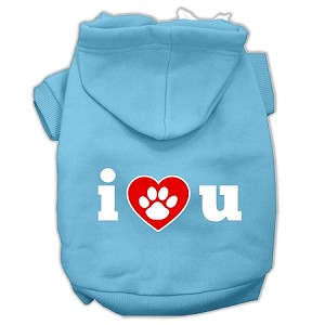 I Love U Screen Print Pet Hoodies Baby Blue Size XL (16)