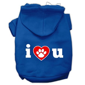 I Love U Screen Print Pet Hoodies Blue Size XS (8)
