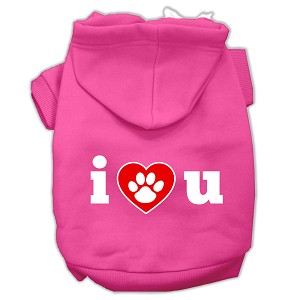 I Love U Screen Print Pet Hoodies Bright Pink Size XS (8)