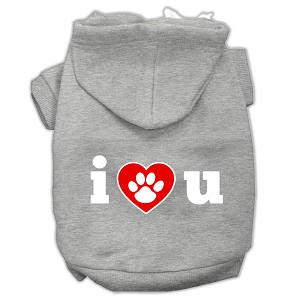 I Love U Screen Print Pet Hoodies Grey Size Lg (14)