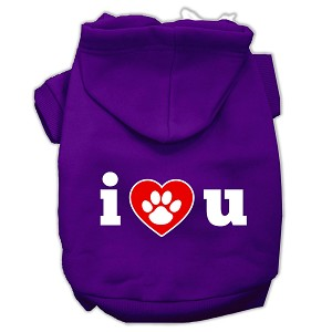 I Love U Screen Print Pet Hoodies Purple Size Med (12)