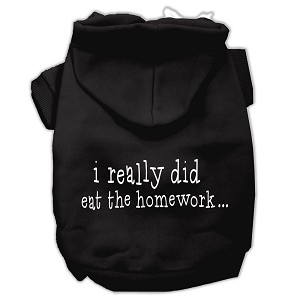 I really did eat the Homework Screen Print Pet Hoodies Black Size L (14)