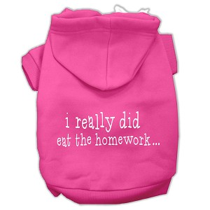 I really did eat the Homework Screen Print Pet Hoodies Bright Pink Size S (10)