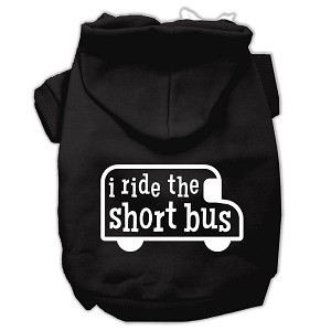 I ride the short bus Screen Print Pet Hoodies Black Size XXXL(20)