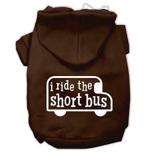 I ride the short bus Screen Print Pet Hoodies Brown Size S (10)