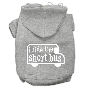 I ride the short bus Screen Print Pet Hoodies Grey Size XS (8)
