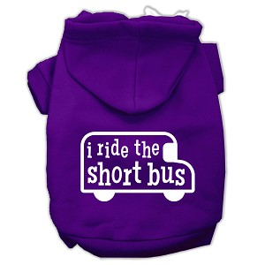 I ride the short bus Screen Print Pet Hoodies Purple Size S (10)