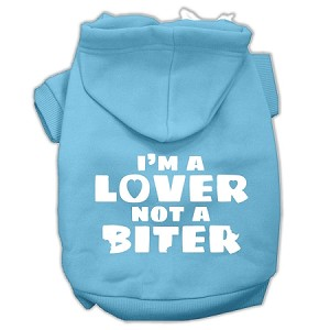 I'm a Lover not a Biter Screen Printed Dog Pet Hoodies Baby Blue Size XXXL (20)