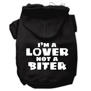 I'm a Lover not a Biter Screen Printed Dog Pet Hoodies Black Size XL (16)