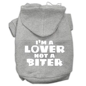 I'm a Lover not a Biter Screen Printed Dog Pet Hoodies Grey Size XS (8)