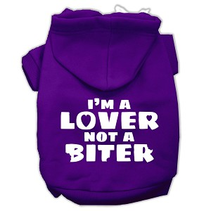 I'm a Lover not a Biter Screen Printed Dog Pet Hoodies Purple Size XL (16)