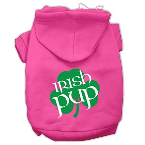 Irish Pup Screen Print Pet Hoodies Bright Pink Size Med (12)