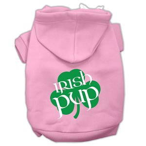 Irish Pup Screen Print Pet Hoodies Light Pink Size XXL (18)