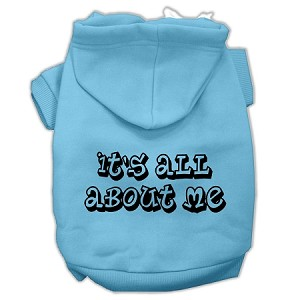 It's All About Me Screen Print Pet Hoodies Baby Blue Size XXXL (20)