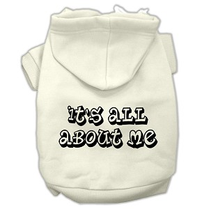 It's All About Me Screen Print Pet Hoodies Cream Size XS (8)