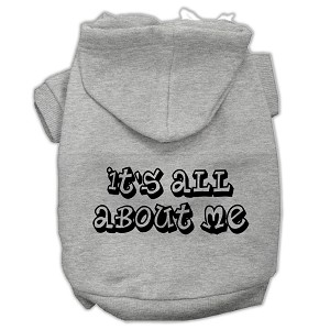 It's All About Me Screen Print Pet Hoodies Grey Size Lg (14)