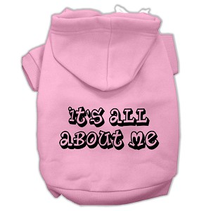 It's All About Me Screen Print Pet Hoodies Light Pink Size Sm (10)