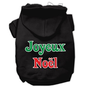 Joyeux Noel Screen Print Pet Hoodies Black XS (8)