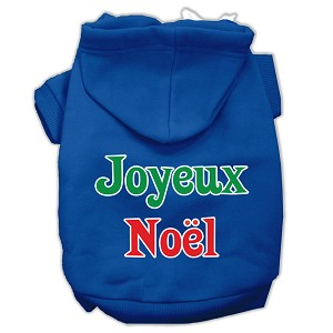 Joyeux Noel Screen Print Pet Hoodies Blue XS (8)