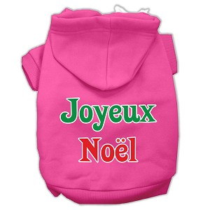 Joyeux Noel Screen Print Pet Hoodies Bright Pink XS (8)