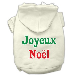 Joyeux Noel Screen Print Pet Hoodies Cream Size XS (8)