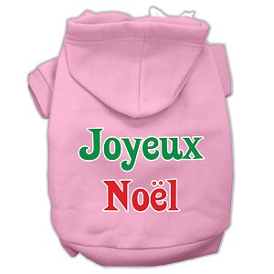Joyeux Noel Screen Print Pet Hoodies Light Pink XL (16)