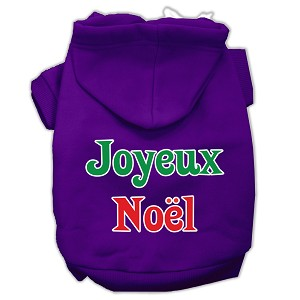 Joyeux Noel Screen Print Pet Hoodies Purple XXL (18)