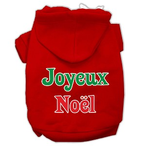 Joyeux Noel Screen Print Pet Hoodies Red Size M (12)