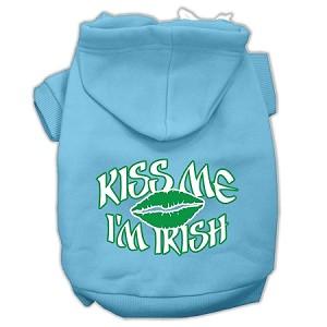 Kiss Me I'm Irish Screen Print Pet Hoodies Baby Blue Size Med (12)