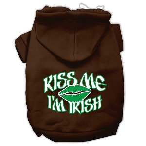 Kiss Me I'm Irish Screen Print Pet Hoodies Brown Size Lg (14)