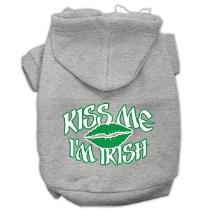 Kiss Me I'm Irish Screen Print Pet Hoodies Grey Size Med (12)