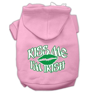 Kiss Me I'm Irish Screen Print Pet Hoodies Light Pink Size XS (8)