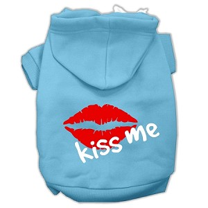 Kiss Me Screen Print Pet Hoodies Baby Blue Size XS (8)
