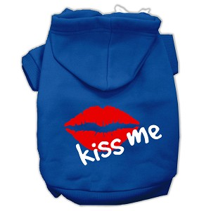 Kiss Me Screen Print Pet Hoodies Blue Size Med (12)