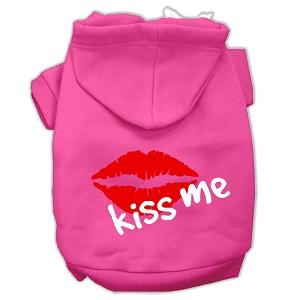 Kiss Me Screen Print Pet Hoodies Bright Pink Size Lg (14)