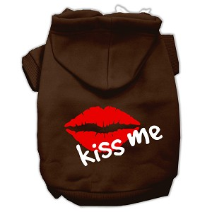 Kiss Me Screen Print Pet Hoodies Brown Size Lg (14)