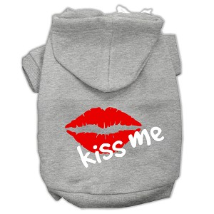 Kiss Me Screen Print Pet Hoodies Grey Size Lg (14)