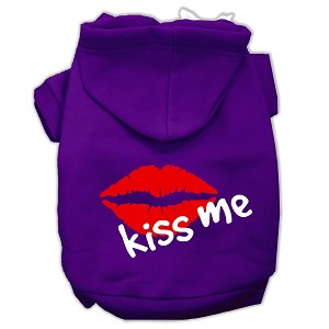 Kiss Me Screen Print Pet Hoodies Purple Size XS (8)