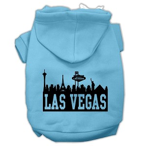 Las Vegas Skyline Screen Print Pet Hoodies Baby Blue Size Lg (14)