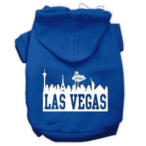 Las Vegas Skyline Screen Print Pet Hoodies Blue Size Lg (14)