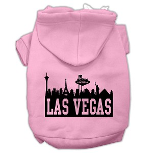 Las Vegas Skyline Screen Print Pet Hoodies Light Pink Size XXXL (20)