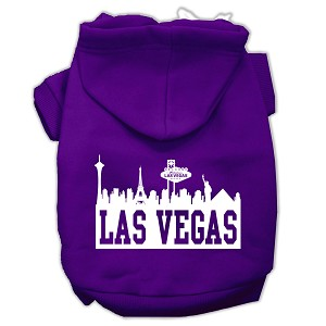 Las Vegas Skyline Screen Print Pet Hoodies Purple Size XL (16)