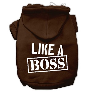 Like a Boss Screen Print Pet Hoodies Brown Size Med (12)