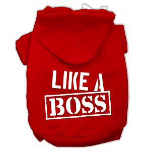 Like a Boss Screen Print Pet Hoodies Red Size Lg (14)