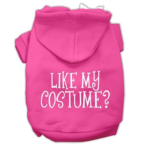 Like my costume? Screen Print Pet Hoodies Bright Pink Size S (10)