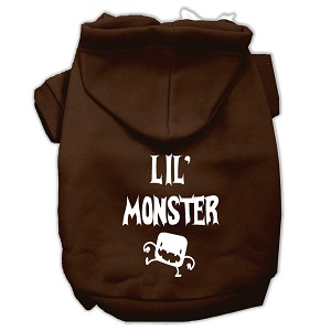 Lil Monster Screen Print Pet Hoodies Brown Size Lg (14)