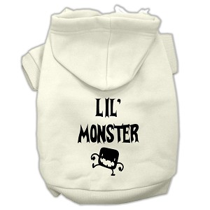 Lil Monster Screen Print Pet Hoodies Cream Size Lg (14)